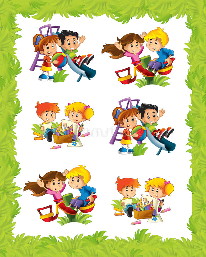 Cartoon frame with children playing in different situations. Beautiful and colorful illustration for the children - for different usage - for fairy tales stock illustration