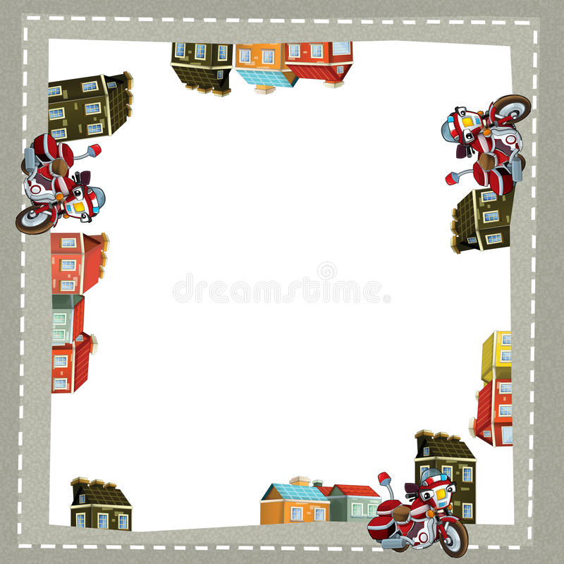 Cartoon frame of a fire brigade motorcycle in the city on the road with space for text. Beautiful and colorful illustration for the children - for different stock illustration
