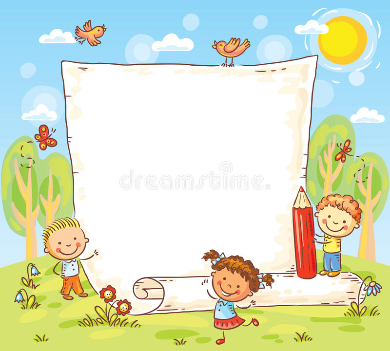 Cartoon frame with three kids outdoors. Vector