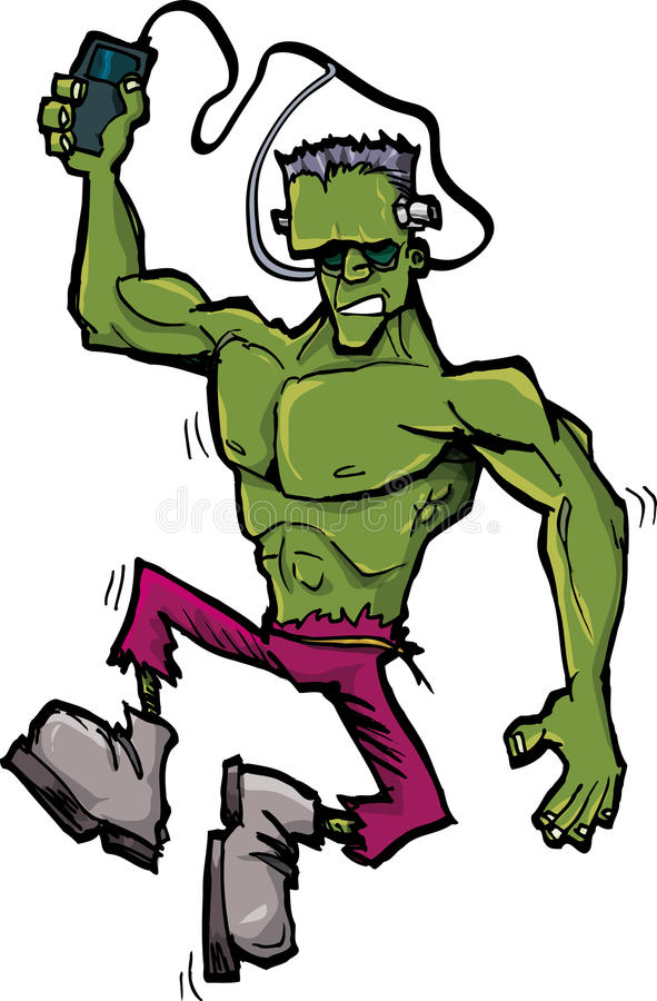 Cartoon frankenstein monster with mp player royalty free