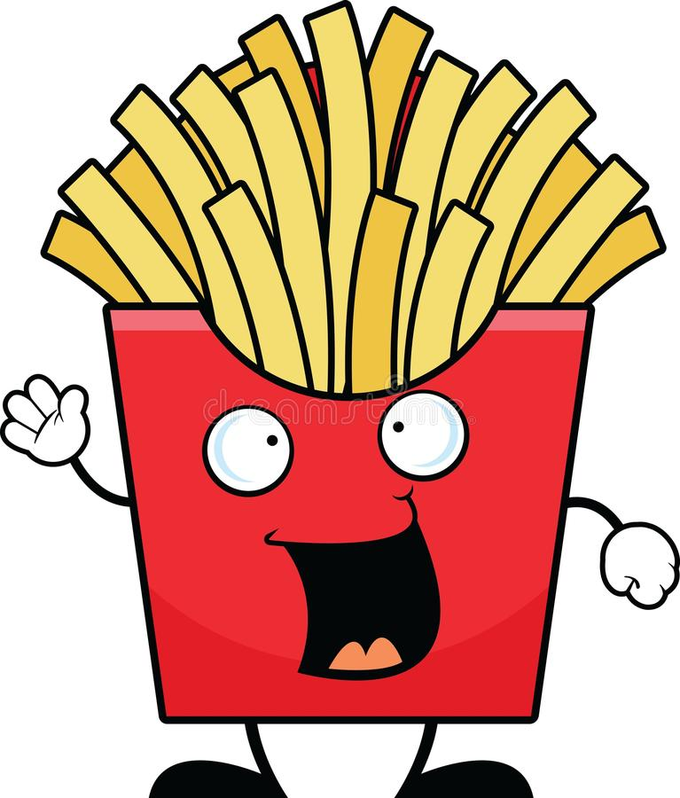 Cartoon French Fries Happy vector illustration