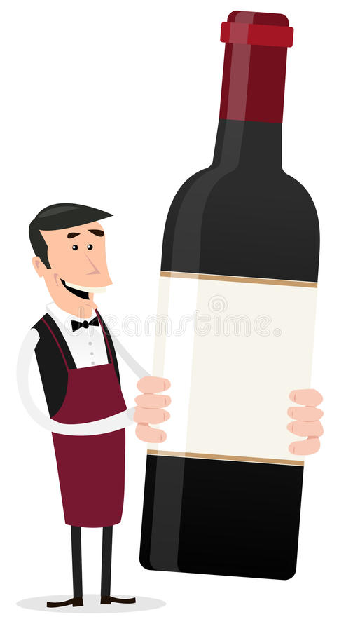 Cartoon French Winemaker. Illustration of a cartoon winemaker holding bottle of red wine with blank sign and copy space stock illustration