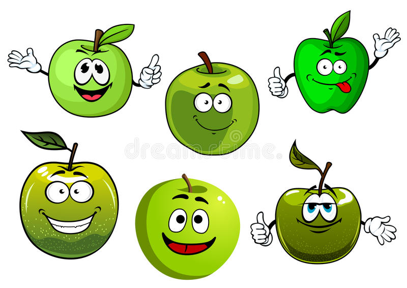 Cartoon fresh green smith apple fruits royalty free illustration