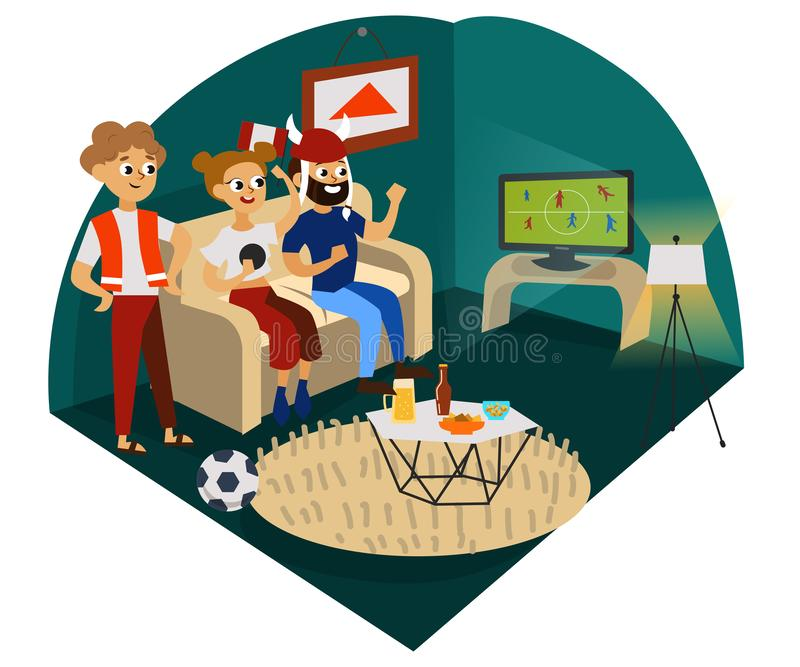 Cartoon friends cheering for favourite football team stock illustration
