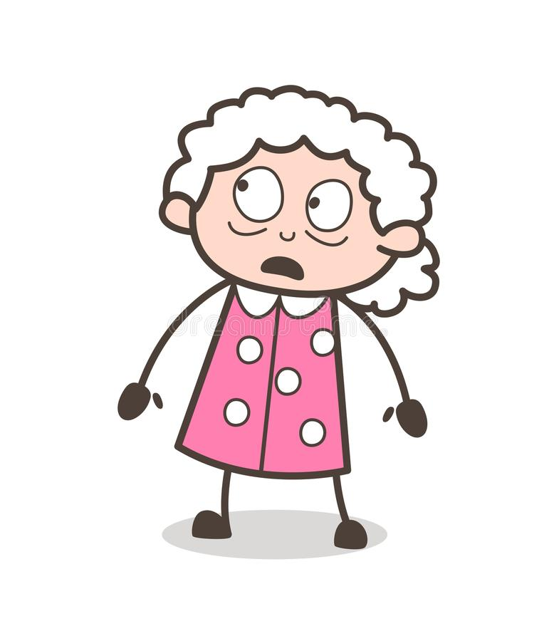 Cartoon Frightened Grandma Face Expression Vector Illustration. Cartoon Frightened Grandma Face Expression Vector Design stock illustration