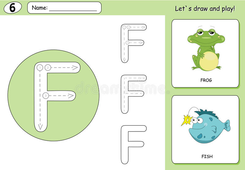 Cartoon frog and fish. Alphabet tracing worksheet: writing A-Z. Coloring book and educational game for kids stock illustration