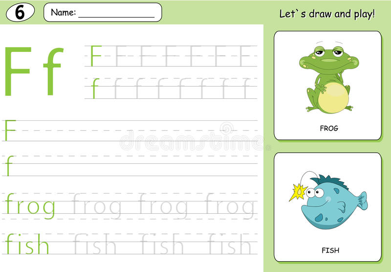 Cartoon frog and fish. Alphabet tracing worksheet: writing A-Z. Coloring book and educational game for kids royalty free illustration