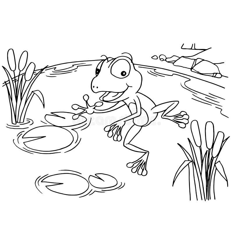 Cartoon Frog At Lake Coloring Page Vector Stock Vector ...