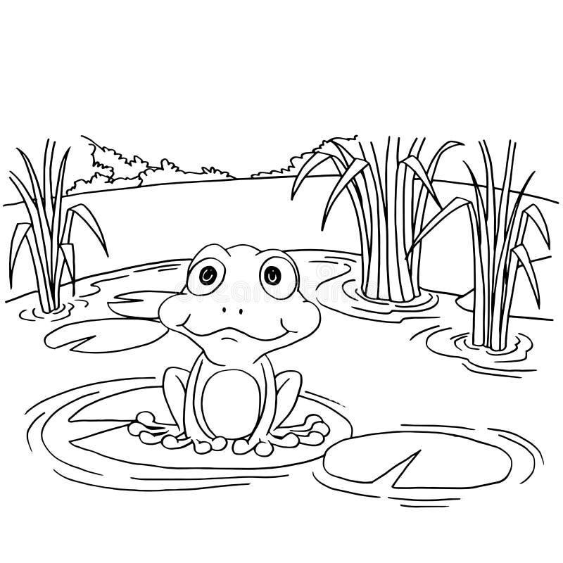 Cartoon Frog On Lily Pad At Lake Coloring Page Vector Stock Vector ...