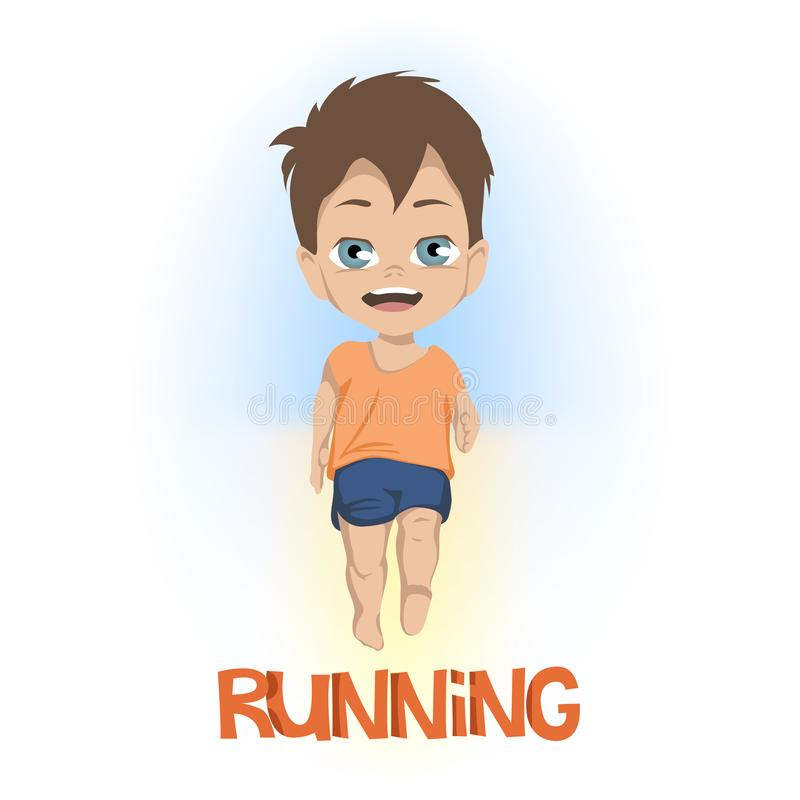 Cartoon of front view on little boy in shorts and tee shirt running above RUNNING in orange text over white vector illustration