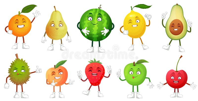 Cartoon fruit character. Happy fruits mascot funny durian, smiling apple and pear. Healthy fresh food vector. Cartoon fruit character. Happy fruits mascot funny vector illustration