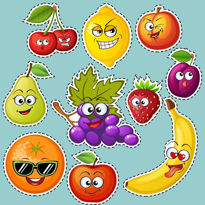 Cartoon fruit characters. Fruit emoticons. Stickers Grape, orange, apple, lemon, strawberry, peach, banana, plum, cherry, pear royalty free illustration