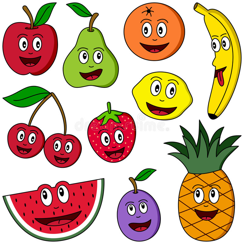 Cartoon Fruit Collection. Collection of ten funny cartoon fruits (apple, pear, orange, banana, cherries, strawberry, lemon, watermelon, plum and pineapple)