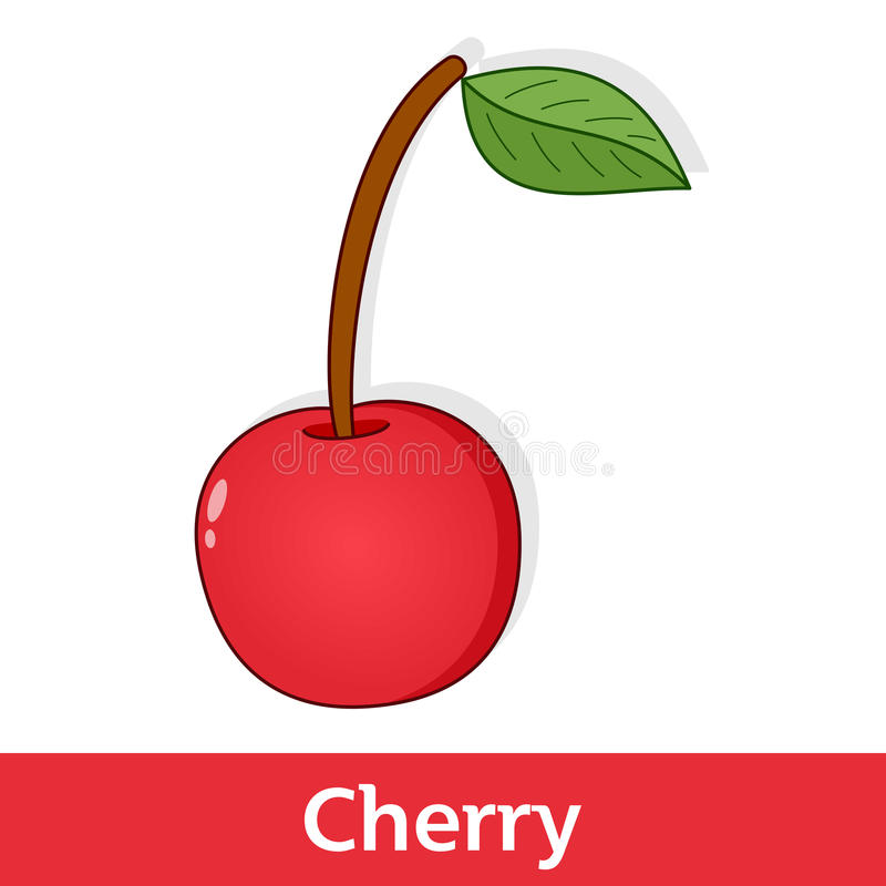 Cartoon Fruit - Red Cherry with Green Leaf. Cartoon fruits series: a sweet red cherry with a green leaf, isolated on white background. Eps file available vector illustration