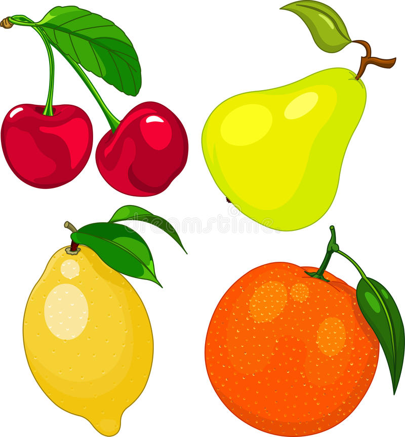 Cartoon fruit set stock illustration