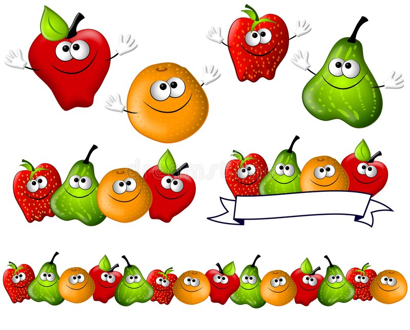 Cartoon Fruit Smiling Characters. A cartoonish clip art illustration featuring 4 main characters smiling with hands - apple, orange, strawberry and pear