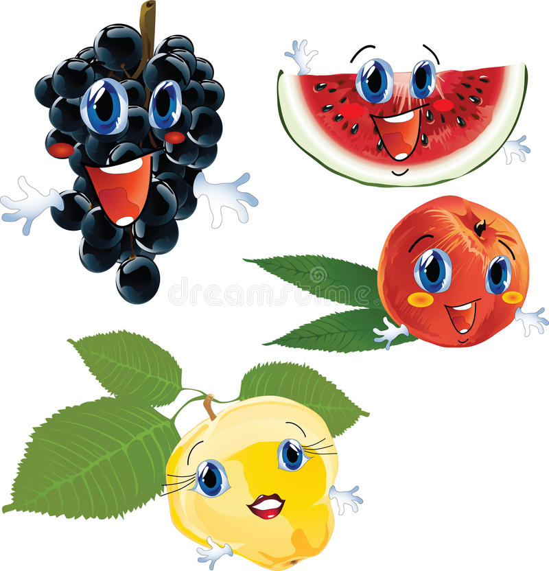 Download Cartoon fruits stock vector. Image of quince, face, fruits - 11926030