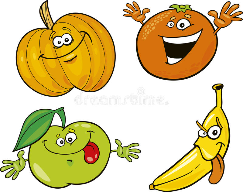 Download Cartoon fruits stock vector. Illustration of clip, happy - 18363841