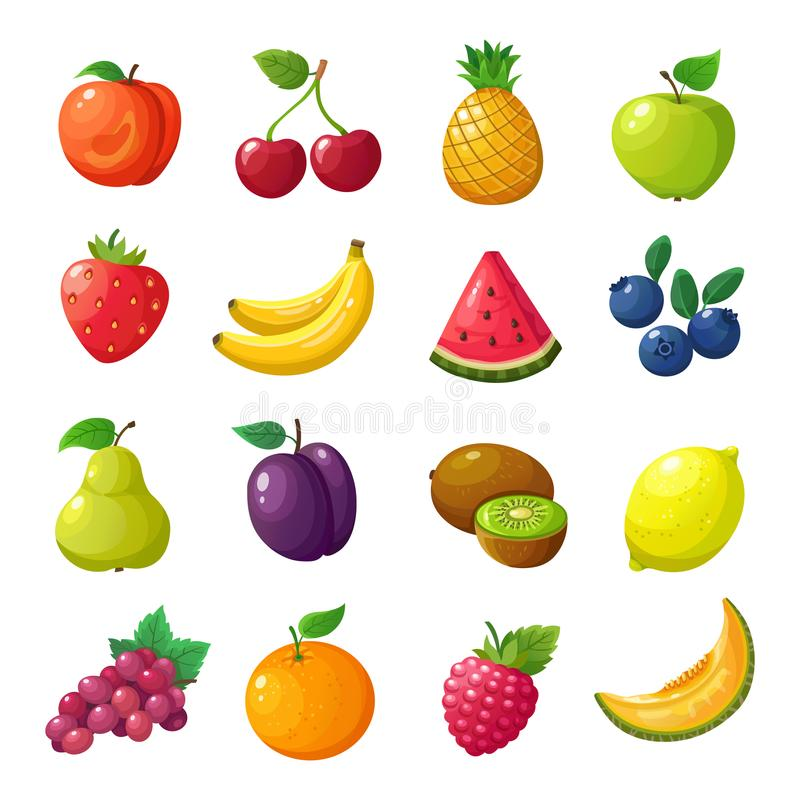 Cartoon fruits and berries. Melon pear mandarin watermelon apple orange isolated vector set. Peach and cherry, pineapple and apple, watermelon and banana vector illustration