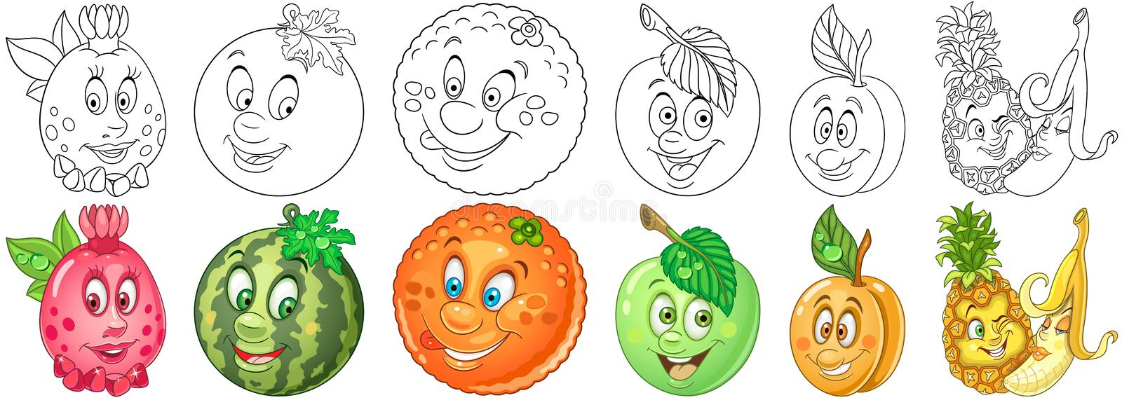 Cartoon Fruits set royalty free stock images