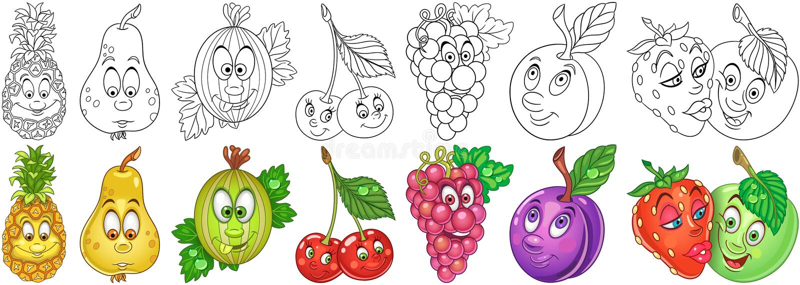 Cartoon Fruits set royalty free stock photos