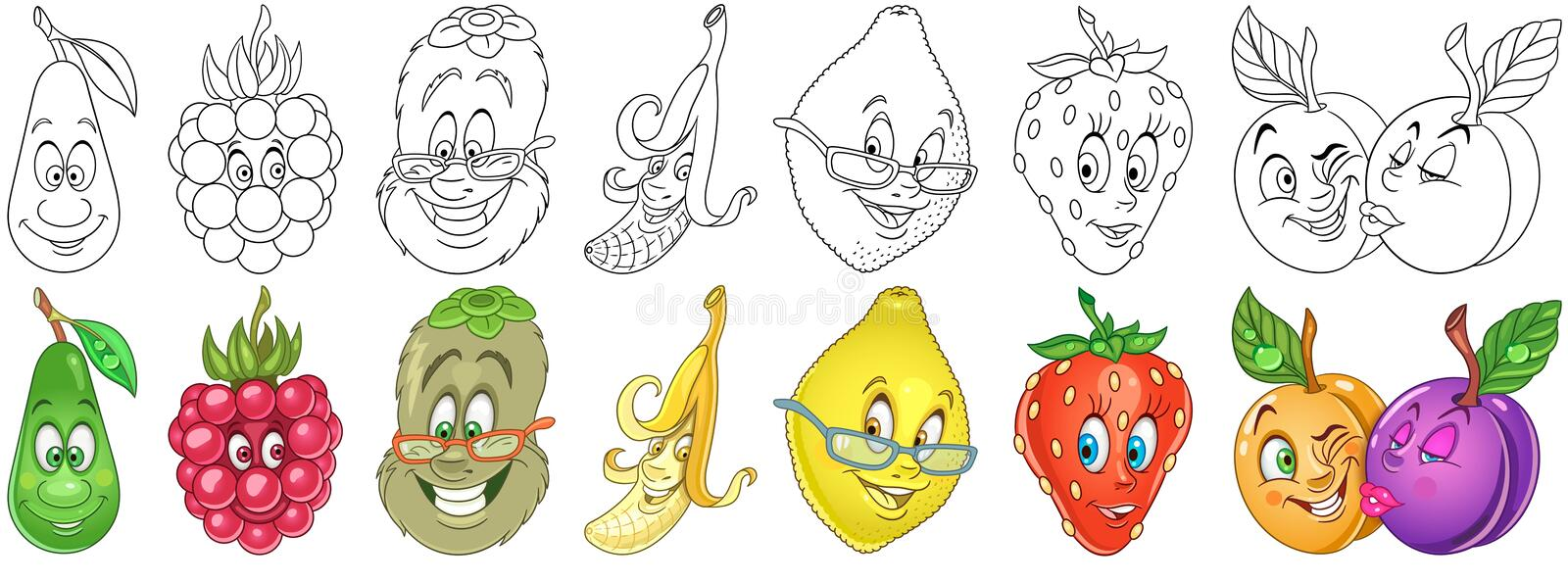 Cartoon Fruits set royalty free stock photography