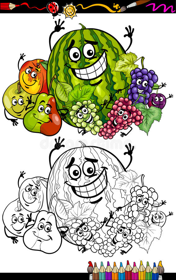 Cartoon fruits group for coloring book royalty free illustration