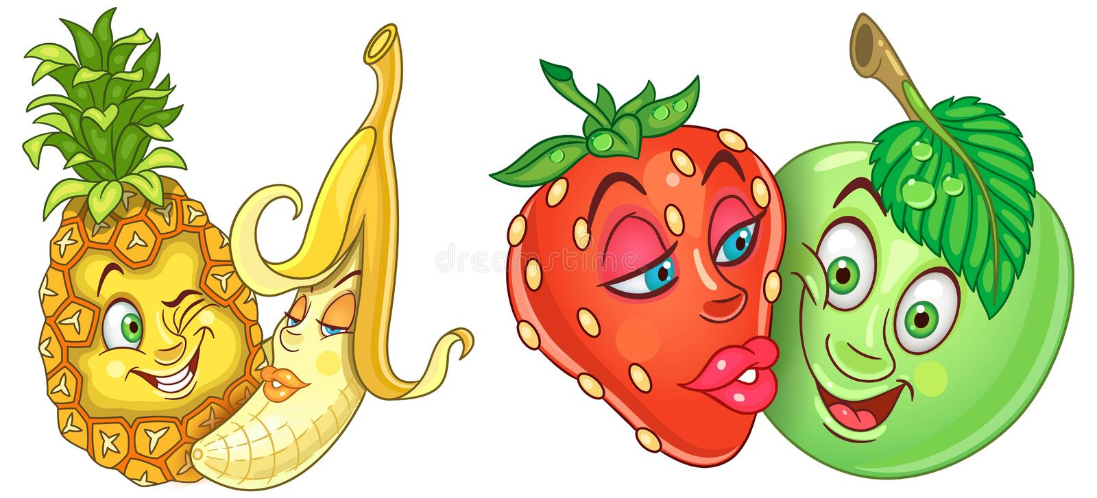 Cartoon Fruits in Love stock photography