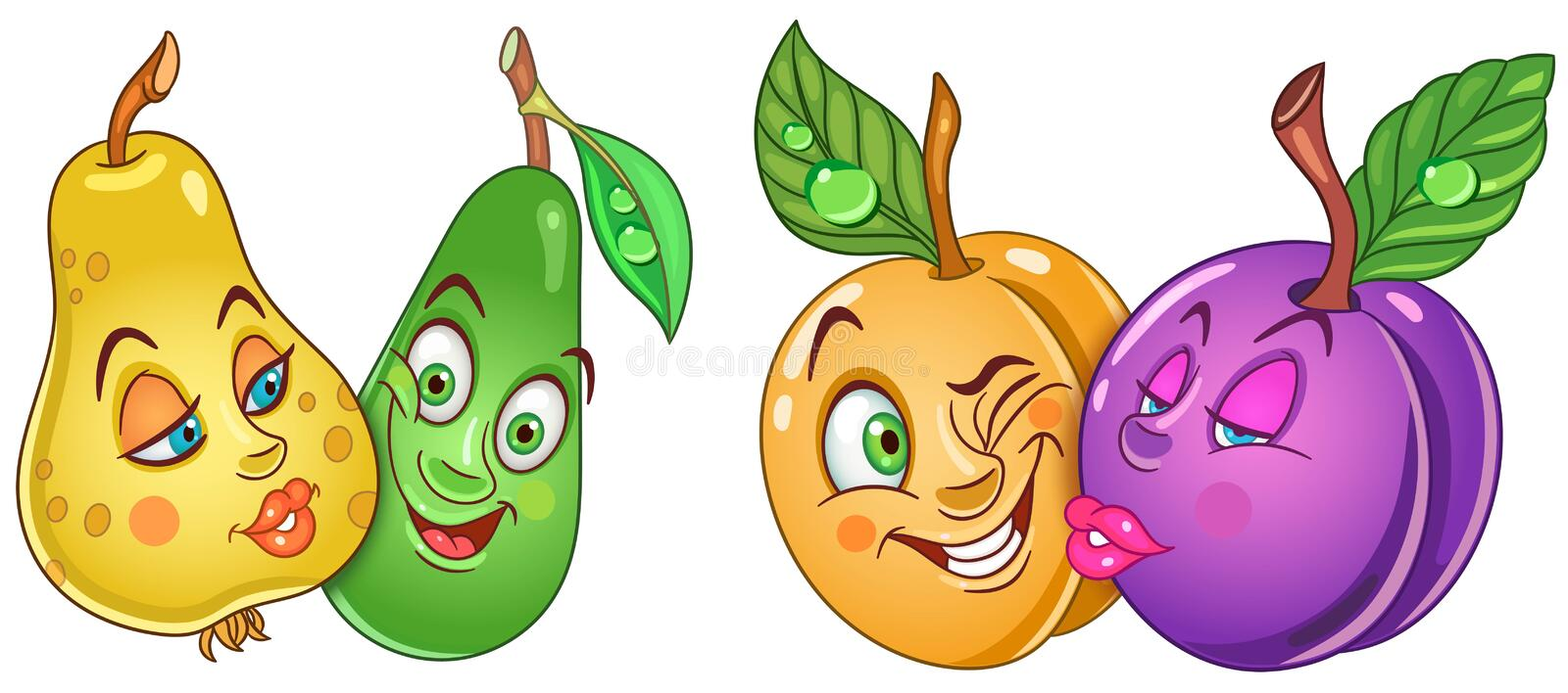 Cartoon Fruits in Love royalty free stock photography