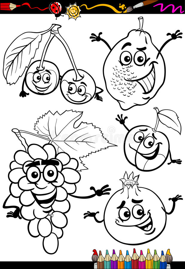 Download Cartoon Fruits Set For Coloring Book Stock Vector - Illustration of fruits, healthy: 31594186
