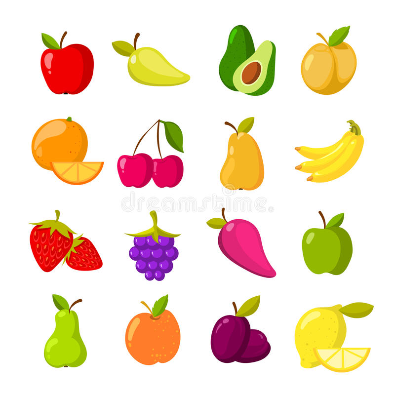 Cartoon fruits vector clipart collection isolated. Cartoon fruits vector clipart collection. Fruit icons isolated on white background vector illustration