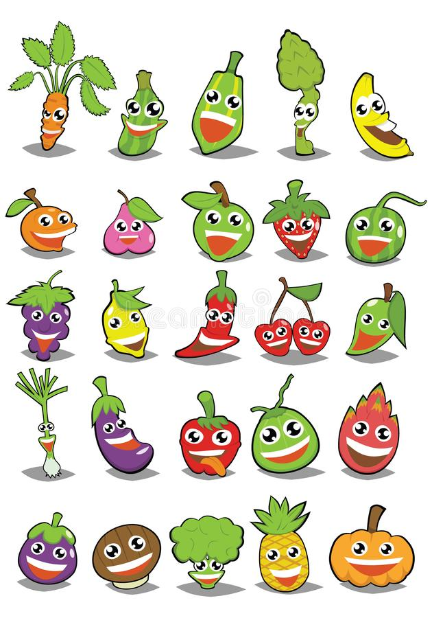 Cartoon fruits and vegetables with different emotions stock illustration