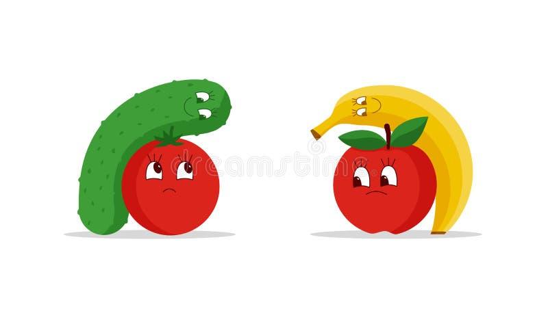 Cartoon fruits and vegetables hug stock illustration