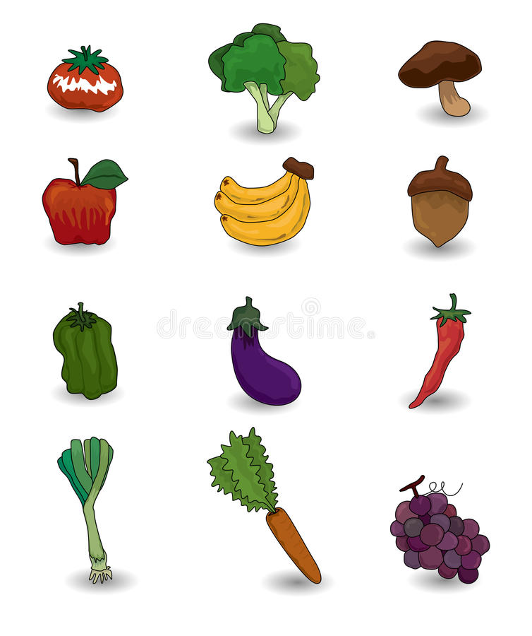 Cartoon fruits and vegetables icon set stock vector