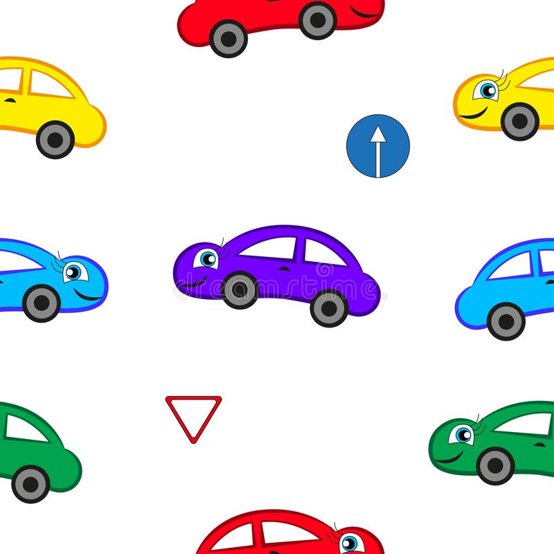 Cartoon fun cars. Cartoon fun cars of different colors isolated with white background stock illustration