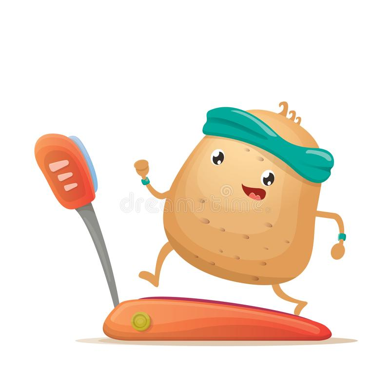 Cartoon funky potato character running or jogging on treadmill isolated on white background. Cute sporty vegetable. Cartoon potato character running or jogging royalty free illustration