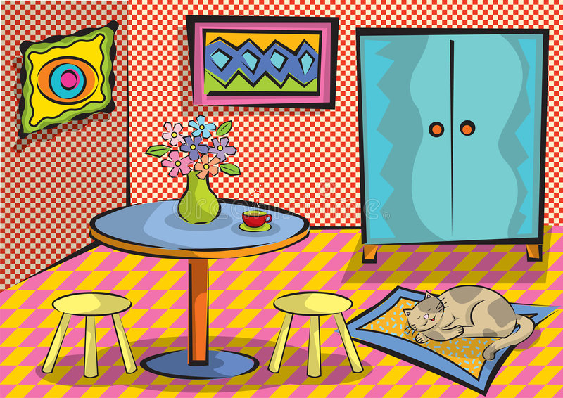 Cartoon funky room with cat vector illustration