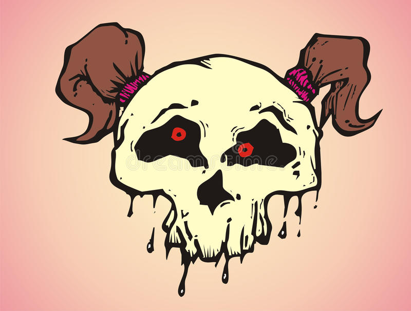 Cartoon funky skull of a girl with pigtail hair stock illustration