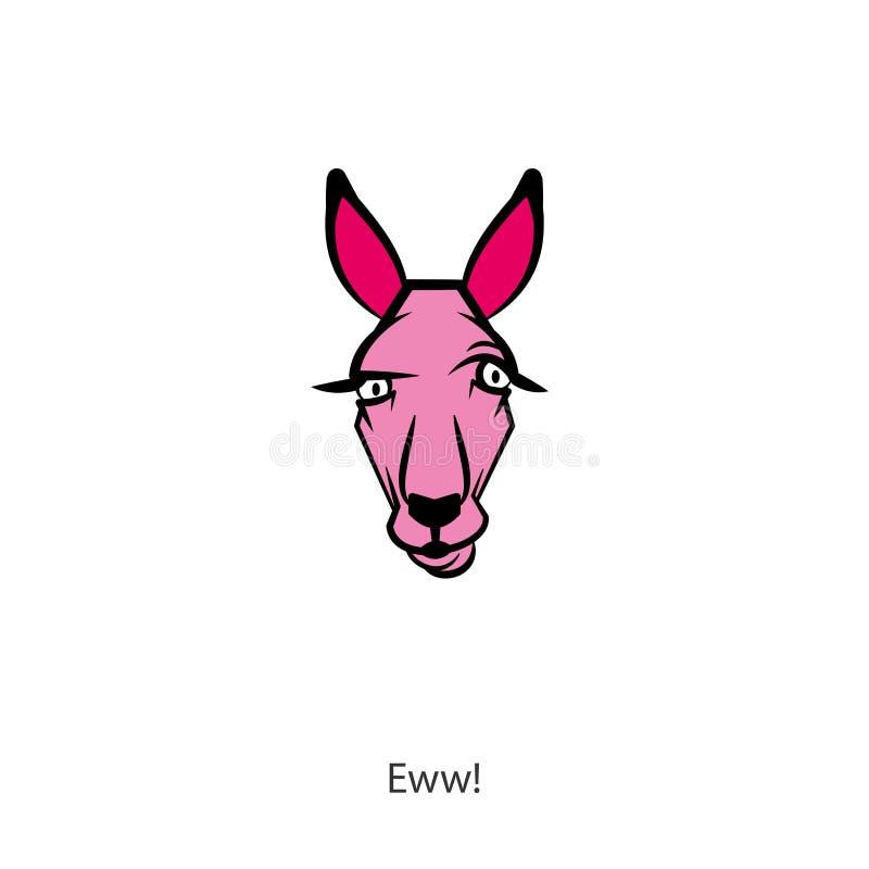 Funny head kangaroo color royalty free illustration
