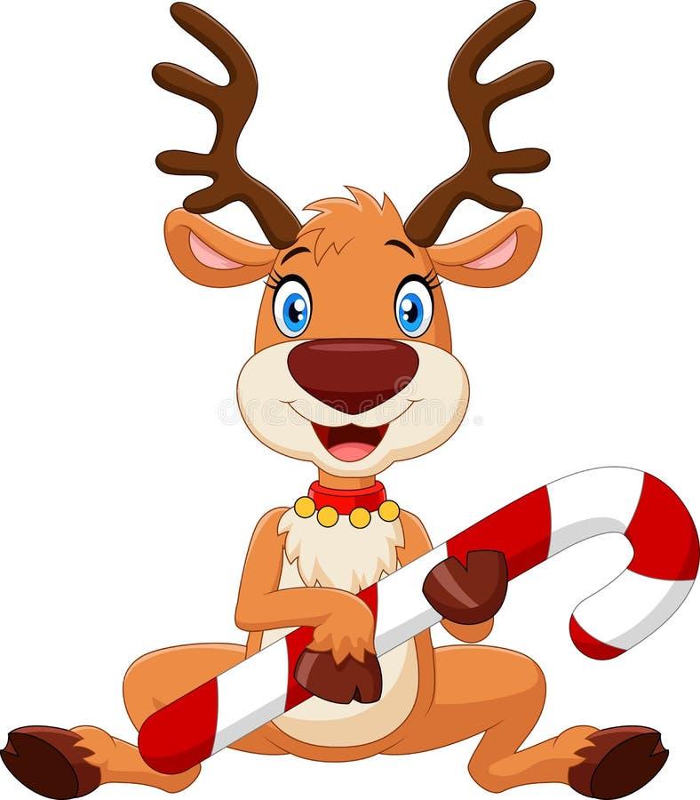 Cartoon funny baby bear holding Christmas candy vector illustration