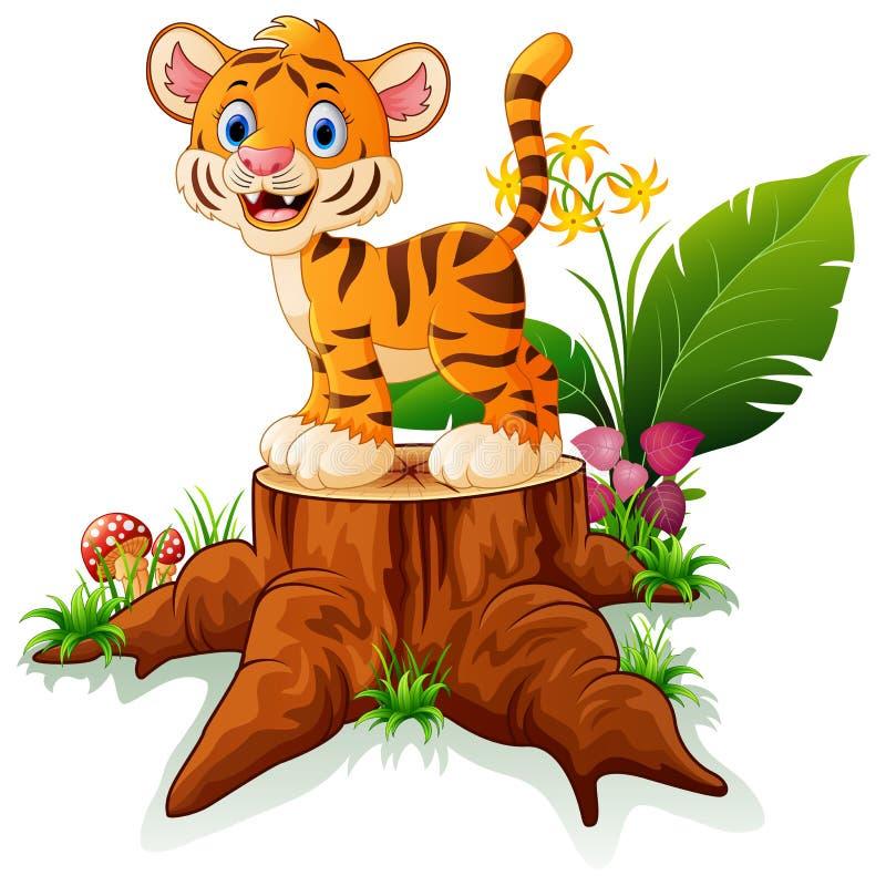 Cartoon funny baby tiger posing on tree stump. Illustration of Cartoon funny baby tiger posing on tree stump vector illustration