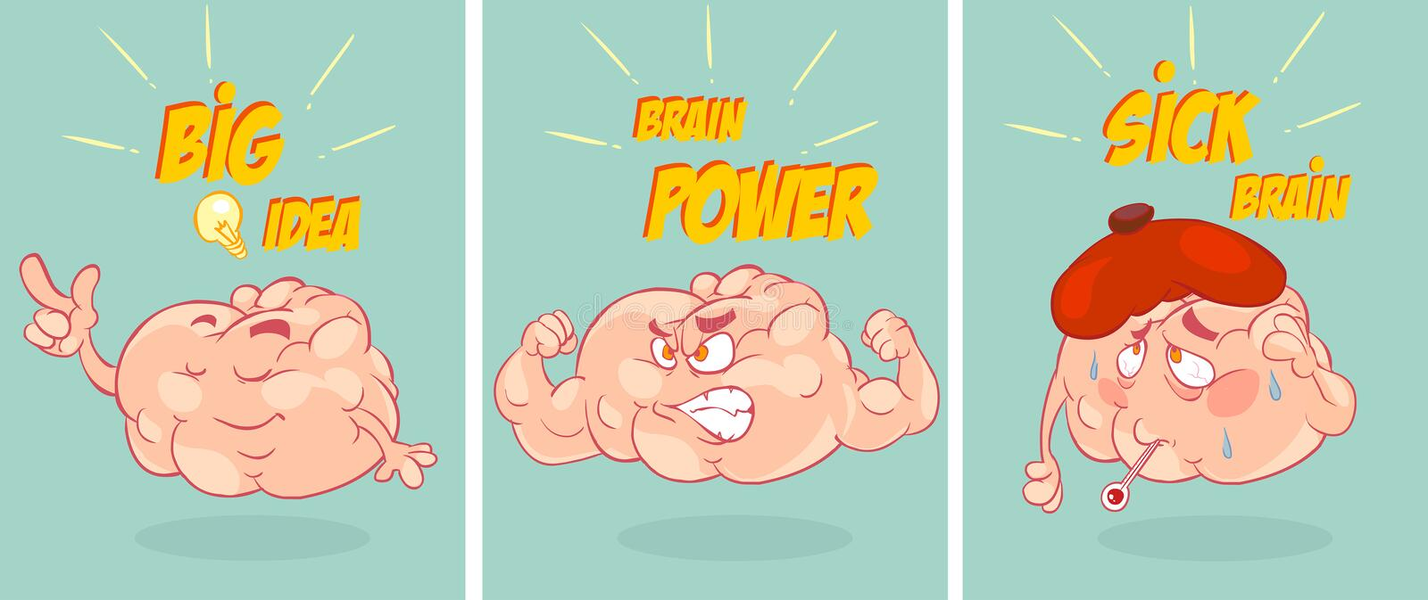 Cartoon funny brain collection set stock illustration