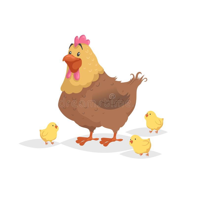 Cartoon funny brown hen with little yellow chickens. Comic trendy flat style with simple gradients. Mother and family vector illus vector illustration