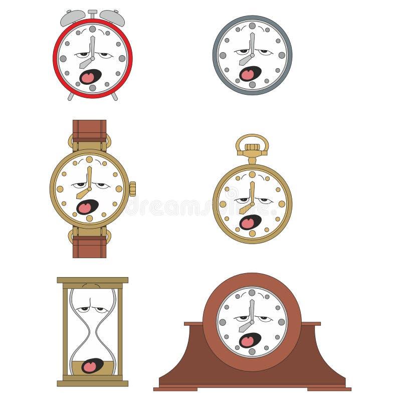 Cartoon funny clock face smiles 011. Cartoon funny clock or watch face smiles illustration 011 stock illustration