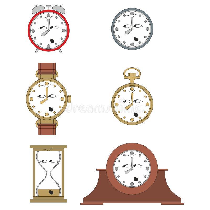 Cartoon funny clock face smiles 014. Cartoon funny clock or watch face smiles illustration 014 royalty free illustration