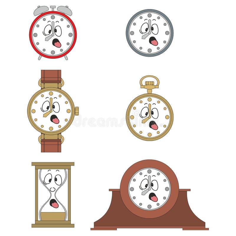 Cartoon funny clock face smiles 02. Cartoon funny clock or watch face smiles illustrationrtoon funny clock face smiles 02 stock illustration