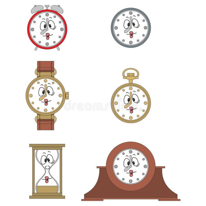 Cartoon funny clock face smiles 03. Cartoon funny clock or watch face smiles illustrationrtoon funny clock face smiles 03 stock illustration
