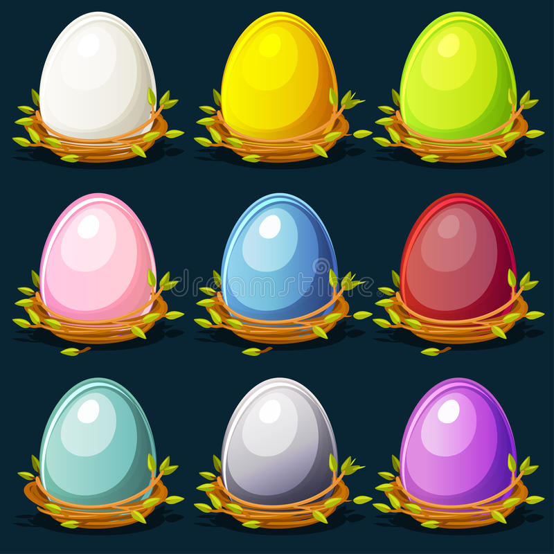 Download Cartoon Funny Colored Birds Eggs In Nest Of Twigs Stock Vector - Image: 83707801
