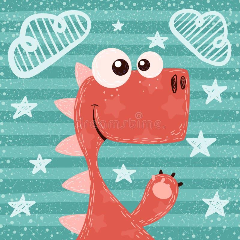 Cartoon funny. cute, dino illustration. stock illustration