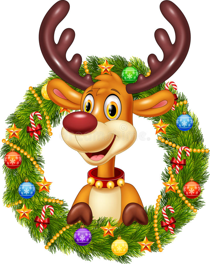 Cartoon funny deer holding Christmas Wreath with ribbons, balls and bow stock illustration